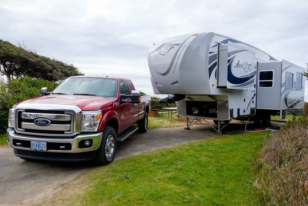 A Ford Truck and Arctic Fox Fifth Wheel Travel Trailer