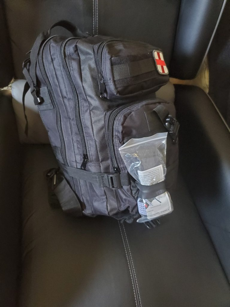 My trauma kit medic bag in a military style backpack