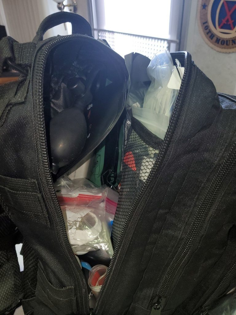 The main compartment of my trauma wound kit for RV living
